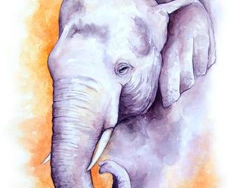 "Watercolor Elephant, Standard Art Print, Elephant Painting, Elephant Art, Nursery Artwork, Elephant Nursery Art, 8x10"""