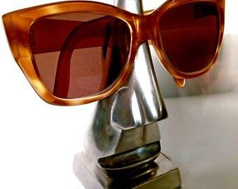 Vintage Givenchy Amber Tortoiseshell Acrylic Spectacles / Retro Designer Glasses Women's Frames. Prescription Sunglasses. 1940s 50s Style