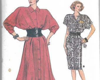 Sewing pattern -  Dress  Pattern - with Kimono Sleeves Straight or Flared Skirt - Size 14-16-18 Uncut, sewing pattern for women