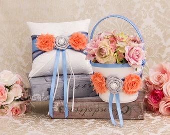 Peach and Blue Flower Girl Baskets, Coral Flower Girl Baskets and Ring Pillow, Ring Bearer Pillow, Flower Girl Basket Set