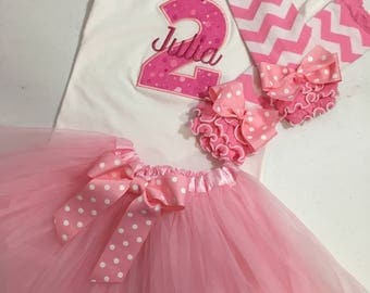 Choose Age! Girl 2nd Birthday Outfit , Toddler Birthday Tutu Set, Girl 3rd Birthday Outfit, Girl 4th Birthday Outfit, Baby Girl 1st Birthday