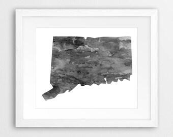 Connecticut Art Etsy - Usa map connecticut