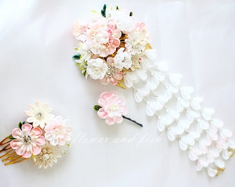 kanzashi hair comb-Set Of Three-kanzashi flower--Kanzashi, bridal hair piece,Kanzashi flower-