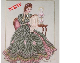 Stitching Beauty - Victorian Lady Counted Cross Stitch Chart Pattern Instant Download