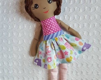 Cloth Doll - Fabric Doll - Black doll - Handmade toys - Gifts for Girls - Toddler Christmas gifts girls - Ethnic Doll - heirloom doll