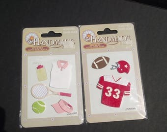HANDMADE SPORTS STICKERS,Football Stickers,Tennis Stickers,Red Football Jersey Stickers,Lady Tennis Stickers,Scrapbook Embellishment,Cards