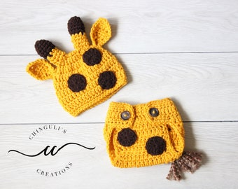 Baby Crochet Giraffe Hat and Diaper Cover Set Newborn Giraffe Outfit