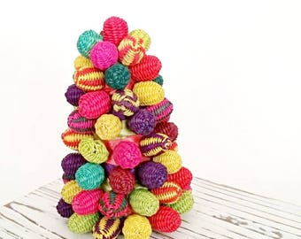 Colorful Wicker Small Table Top Christmas Tree