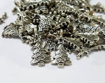 Christmas, Lot, Christmas Tree, Charm, Antique Silver, Pewter, Drop, Finding, Earring, Bracelet, Jewelry, Beading, Supplies