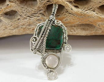 Shattuckite, Rose Quartz, Wire Wrapped, Sterling Silver, Pendant, .925 Sterling Silver, Quartz, Focal, Beading, Jewelry, Supply