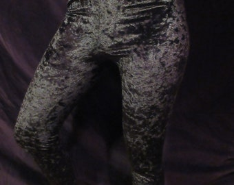 V90s Black Crushed Velvet Leggings