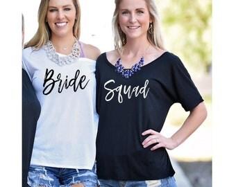 Bride and Squad, Bachelorette Party Shirts, S-2XL, Brunch Shirt, Slouch Top, Bride Shirt, Squad Shirt, Bachelorette Party Favor