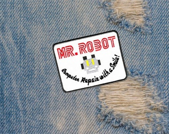 Awesome Large Mr. Robot Patch 10cm fsociety Badge for Shirt Hat Cap Jacket 4 inch x 3 inch Applique Great for Halloween Costume!