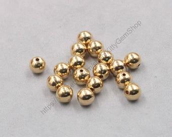 20Pcs, 8mm Raw Brass Round Ball Beads , hole size 1.5mm , GY-J032108