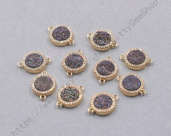 11mm Rainbow Agate Druzy Connectors With White Zircon And Electroplated Gold Edge Charms Wholesale Supplies YHA-346
