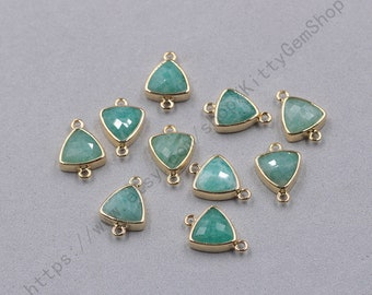 12mm Faceted Amazonite Connectors -- With Electroplated Gold Edge Charms Wholesale Supplies YHA-349