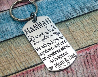 Drive Safe, Sweet Sixteen Gift, Teen Daughter gift, Drive Safe Son, Driver contract gift, New Driver Key Chain, Driving Test Keyring