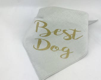 Best Dog Gray and Gold Wedding Pet Bandana Gold Dog Collar for Engagement Photos Save the Date Bridal Shower
