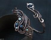 Wire wrapped bracelet Copper cuff bracelet Lapis Lazuli bracelet Gift for her Artisan Boho bracelet Copper jewelry  Wire wrapped jewelry