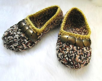 Crochet slippers, Womens shoes, Gift for Women, Womens Slippers, Ballet flats, Cozy slippers, House shoes, Home shoes, Ladies House Shoes