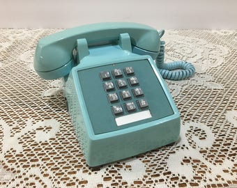 Aqua Push Button Telephone ~ Bell System Western Electric ~ Turquoise Desk  Phone ~ 1983
