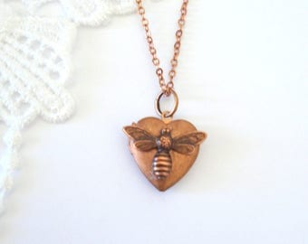 Dainty Bee Locket, Little Heart Locket, Copper Necklace, Layering Locket, Rustic Jewelry, Gift for Her