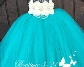 Teal Flower Girl Dress, Teal Tutu Dress, Teal Tulle Dress, Teal Dress, Teal Wedding, Teal, Flower Girl Dress, Tutu Dress, Tulle Dress