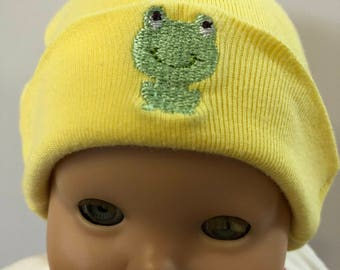 "15 inch Bitty Baby Doll Hat, Adorable Little ""FROG"" Boy or Girl Doll HAT, 15 inch Bitty Baby Clothes or Twin Doll, 15 inch Baby Doll Clothes"