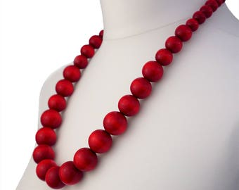 Long Red Wooden Bead Necklace | Chunky Red Necklace | Long Red Necklace