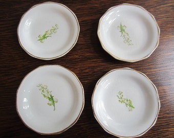 Four Vintage Flowered Butter Pats/Lilly Of The Valley Butter Pats/ Antique Butter Pats/ White Butter Pats/ Vintage Dining/Vintage China