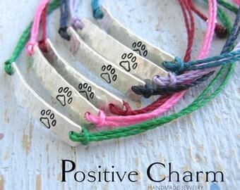 Paw Print Bracelet, Pet Bracelet, Dog Print Bracelet, Cat Print Bracelet, Pet lover bracelet, Pet name bracelet, string bracelet