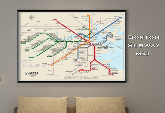 Boston subway map poster tube map map art metro map like this item gumiabroncs Choice Image