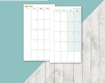 BR-PERS | 2018 Month On 2 Pages Printable Planner Insert - 2018 Monthly Two Pages Personal Inserts Filofax Calendar Printable Page