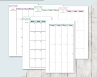 SC-PERS | 2018 Month On 2 Pages Printable Planner Insert - 2017 2018 Monthly Two Pages Personal Inserts Filofax Calendar Printable Page