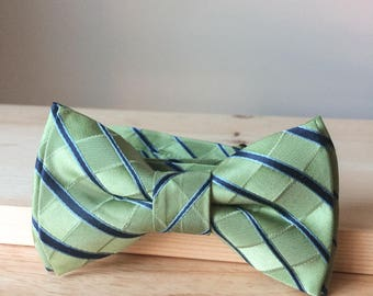 Bowtie - bright green with blue stripes - pre-tied - classy gentleman - groom - unique