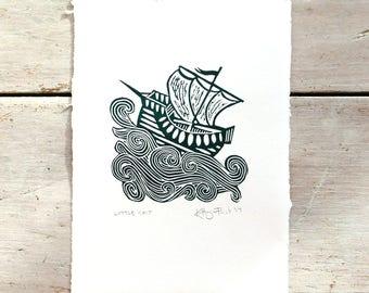 Little Ship print - handprinted linocut (11.5 cm x 16 cm)