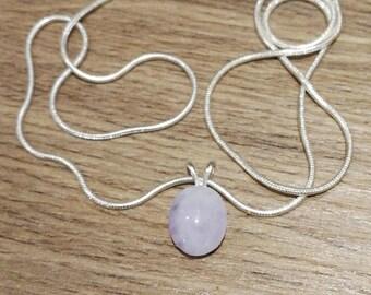 Jadeite Natural grade A light lavender pendant 925 Sterling silver 18 inch snake chain