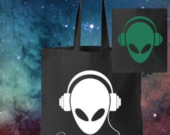 Glow in the Dark Alien with Headphones on a light weight tote bag
