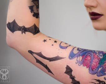 Bats in Flight Set of Temporary Tattoos