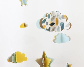 Mobile paper stars and clouds 3D - blue yellow leaves - limited EDITION - deco gift baby nursery room