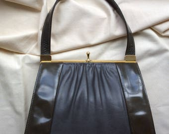 Vintage olive patent and grey leather handbag by Van Dal, 1950s/60s , leather lined top handle frame bag.