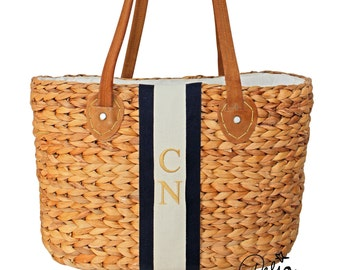 Monogram shopper basket *** embroidered initials *** personalized tote