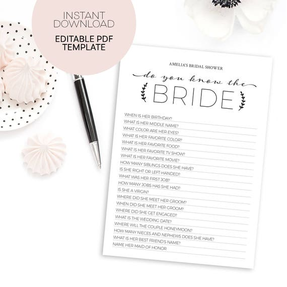 How Well Do You Know The Bride Template Printable Bridal