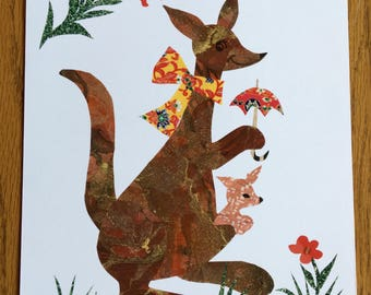 Kangaroos with Umbrella, Art Print, Nursery decor, kangaroos, cut paper art, baby room art, nursery, baby, australian art
