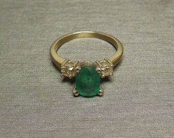Vintage Estate C1970 14K Gold 2.20TCW Oval Emerald & Diamond Three Stone Engagement Ring Sz 4.5