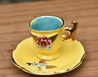 Antique Minature Tea Cup and Saucer Set Yellow/Doll Tea Set/Little Girls Tea Cup Set/Decor/Kitchen Decor