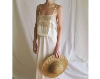 70s Maxi Slip Dress S M
