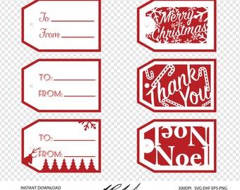 Christmas Gift Tag Digital Cut Files - Digital Files - Gift Tag SVG - Gift Tag DXF - Gift Tag EPS - Gift Tag png - Tag svg - Christmas svg