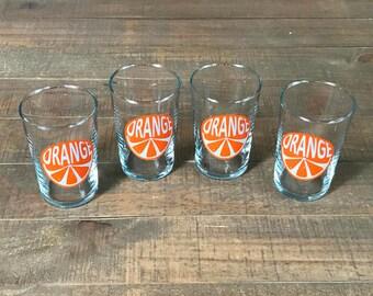 Vintage Orange Juice Glasses, Set of Four, Breakfast Glasses