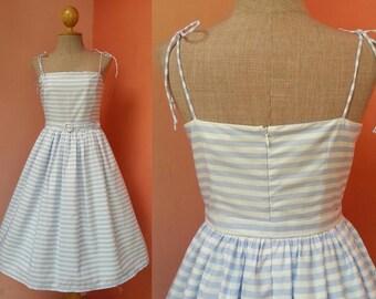 Beach Dress Women Pin Up Dress Rockabilly Dress Summer Dress Strap Dress Striped Dress White Blue Dress Cotton Dress Knee Length Dress Small